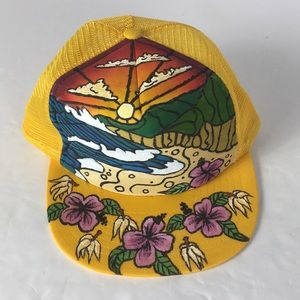 VINTAGE Hand Painted Yellow Trucker Hat Floral